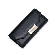 NUCELLE Cowhide Leather 2016 Autumn Fashion Simple Long Style Clutch Bag Black