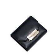 NUCELLE Cowhide Leather 2016 Autumn Fashion Simple Short Style Wallet Black