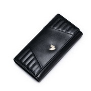 NUCELLE Genuine Leather 2016 Autumn French Embroider Line Long Style Wallet Black