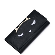 JUST STAR PU Leather 2016 Autumn New Cute Funny Cat Long Style Wallet Black