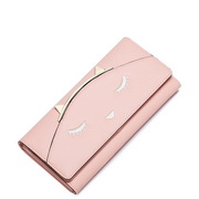 JUST STAR PU Leather 2016 Autumn New Cute Funny Cat Long Style Wallet Pink