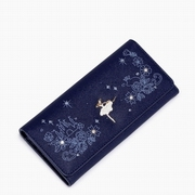 JUST STAR PU Leather 2016 New Fantasitc Starry Sky Long Style Wallet Blue