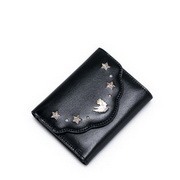NUCELLE Top Range Leather 2016 Autumn Hollow Short Style Wallet Black
