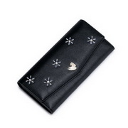 NUCELLE Customized PU Leather 2016 New Snowflake Design Long Wallet Black