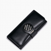 JUST STAR PU Leather 2016 New Young Fashion Long Style Wallet Black