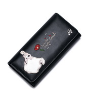 JUST STAR PU Leather 2016 New Pretty Cinderella Series Long Style Wallet Black