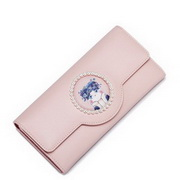 JUST STAR PU Leather 2017 New Lovely Cat Digital Printing Long Wallet Pink