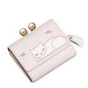 JUST STAR PU 2017 New Cute Sleeping Cat Short Style Wallet Light Pink