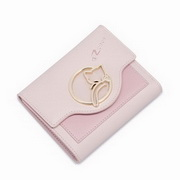 NUCELLE 2017 New Sleeping Cat Simple Short Wallet Pink