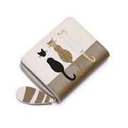 JUST STAR PU 2018 New Cute Cat Short Style Wallet Apricot