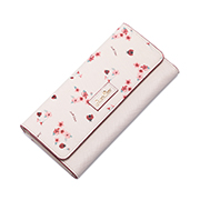 JUST STAR PU 2018 New Flower Printing Wallet Pink