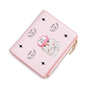 JUST STAR PU 2019 New Cute Cat Short Wallet Pink