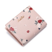 JUST STAR 2019 New Fashion Vintage Flower Printing Wallet Pink