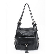 leather multi-use bag Black