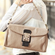 Cowhide leather hobos bag Apricot