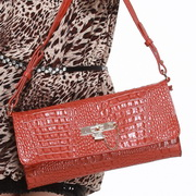 leather lady messenger bag Red