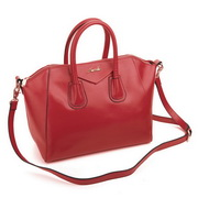 Genuine leather hobos bag Red