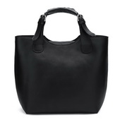 leather women Tote bag Black Color