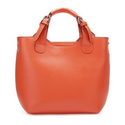 leather women Tote bag Orange