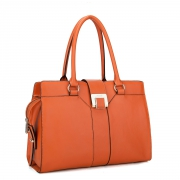 Cowhide leather handbag  Orange
