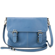 Cowhide leather messenger bag Blue