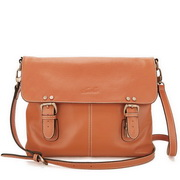 Cowhide leather messenger bag Orange