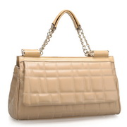 Chain match leather Handbag Apricot