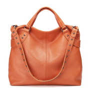 Cowhide leather women handbags Orange