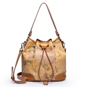 Cowhide leather hobos bag  Light coffee