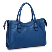 cowhide leather handbag Blue