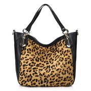 Horse hair with cowhide leopard Black