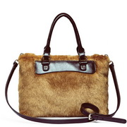 leather & fur handbag Coffee