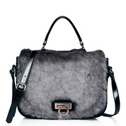 Hair match cowhide shoulder bag Gray