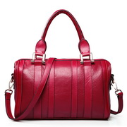 Cowhide lady handbags red