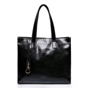Cowskin leather shoulder bag Black