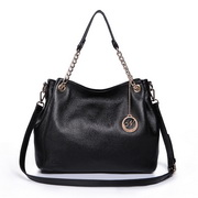 Cowhide leather two ways bag Black