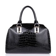 crocodile leather handbag Black