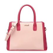 Color blocking cowhide women handbag Pink