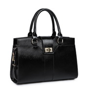 Fashion genuine leather women tote bag with lock Black
