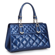 Patent cowhide leather tote bag Blue