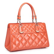 Patent cowhide leather tote bag Orange