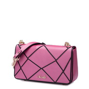 Women leather contrast color chain bag Rose