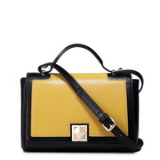Fashion leather women contrast color messenger bag Yellow