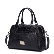 NUCELLE crocodile grain cowhide bag Black