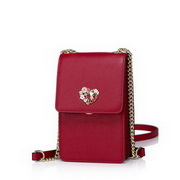 NUCELLE Cowhide Leather New Model Fashion Mini Phone Bag Red