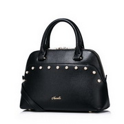 NUECLLE Top Range PU Leather 2016 Autumn New Pearl Decoration Shoulder Bag Black