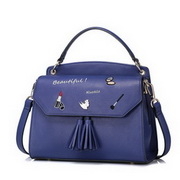 NUCELLE Top PU Leather 2016 New Embroidery Tassels Handbag Blue
