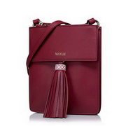 NUCELLE Top PU Leather 2016 Bohemian Style Tassel Crossbody Bag Red