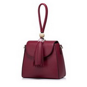 NUCELLE Top PU Leather 2016 Bohemian Style Tassel Shoulder Bag Red