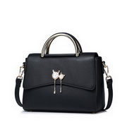 NUCELLE Top PU Leather 2016 New Fair Lady Pear Tassel Handbag Black